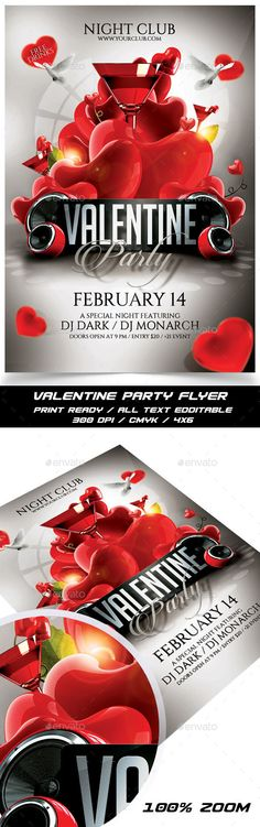 Valentine Party Flyer Template PSD #design Download: http://graphicriver.net/item/valentine-party-flyer/14325222?ref=ksioks