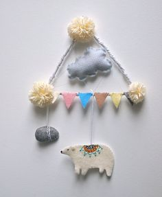 Polar bear wall hanging mobile Christmas decoration. £45,00, via Etsy.