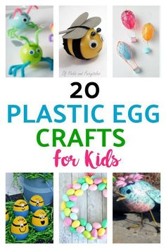 Plastic Easter Egg Crafts for Kids. Here are some very cute and colorful Easter crafts for kids! Plastic Easter Eggs are perfect for DIY crafts! Take a look at the bird made from a plastic egg. It is adorable! Plastic Egg Crafts For Kids, Plastic Easter Eggs, Easter Crafts For Kids, Craft Activities For Kids, Fun Crafts, Easter Ideas, Colorful Crafts, Rainbow Crafts, Spring Activities