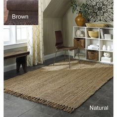 @Overstock - This rug is meticulously crafted by artisan rug makers with sustainably harvested jute, a fast-growing natural fiber. The fibers have a golden and silky shine and is truly an eco-friendly floor covering.http://www.overstock.com/Home-Garden/Handmade-Eco-Natural-Fiber-Chunky-Loop-Jute-Rug-5-x-8/5186324/product.html?CID=214117 $104.54