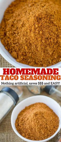 Homemade Taco Seasoning without artificial ingredients and much less sodium! Easy to make and store. Saves money over the packaged taco seasoning packets!