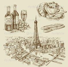 dibujado a mano Paris - Ilustración de stock: 9083646