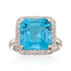 9.75 Carat Blue Topaz and .20 ct. t.w. Diamond Ring in Sterling Silver