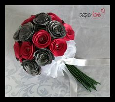 Hot pink & personalised grey paper wedding bouquet  www.facebook.com/flowers.eb