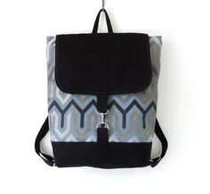 Unisex, backpack with gray black geometric pattern / laptop bag / school bag / with 2 front pockets, Design by BagyBags on Etsy, $92.70