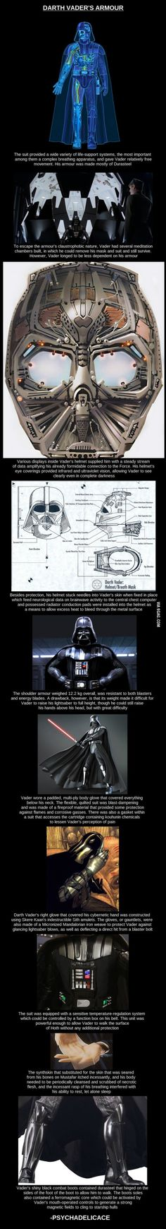 Darth Vader's Armor.  A very cool in-depth illustrated info-graphic.  #starwars #darthvader #vader