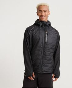 Shop gym clothes for men from the Superdry gym collection. Combining quality, style and high-tech fabrics to create the ultimate gym wear for men. Superdry Jackets, Superdry Mens, Gym Outfit Men, Gym Wear, Hooded Jacket, Rain Jacket, Windbreaker, Winter Jackets, How To Wear