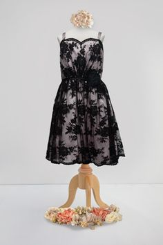 Perfect for Black Tie Junior Bridesmaid: black lace with pink petal charmeuse. Style 20655. #FlowerGirl #wedding #BariJay