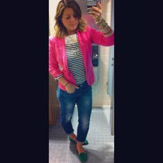 Pink blazer, green loafers and Boyfriend jeans <3