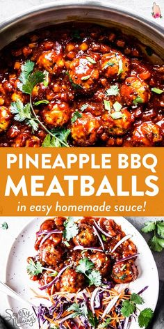 Pineapple BBQ Meatballs are delicious homemade meatballs smothered in a pineapple BBQ sauce you can whip up from scratch in minutes. Serve them over rice with an Asian-inspired coleslaw for a healthy family meal. Healthy Turkey Recipes, Ground Beef Recipes For Dinner, Healthy Family Meals, Real Food Recipes, Cooking Recipes, Ground Pork Recipes Easy, Healthy Ground Turkey Dinner, Healthy Ground Beef, Health Ground Beef Recipes
