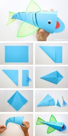 paper-fish-paper-origami-paper-fish More – Lily Black – – pez-de-papel-pap… paper-fish-paper-origami-paper-fish More – Lily Black – – pez-de-papel-papiroflexia-origami-paper-fish More paper-fish-paper-origami – BuzzTMZ Fish Paper Craft, Paper Crafts Origami, Paper Crafts For Kids, Origami Art, Origami Ideas, 5 Year Old Crafts, Origami Fish, Kids Crafts, Summer Crafts