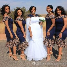 Charming Tea Length Navy African Bridesmaid robes Dresses Off shoulders short Sleeves Lace Cheap robes de demoiselle d honneur prom dress African Print Wedding Dress, African Bridesmaid Dresses, African Wedding Attire, Bridesmaid Robes, African Attire, African Dress, Grey Bridesmaids, African Weddings, Nigerian Weddings