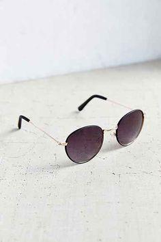 Aubrey Leather Round Sunglasses