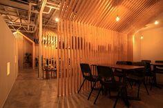 Interior wall treatment, wood.