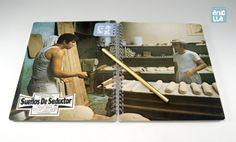 Libreta hecha a mano reciclando un viejo fotocromo de la película «Sueños de seductor».