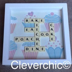 Scrabble Art Frame Kitchen Wording on a Cupcake by Cleverchic1