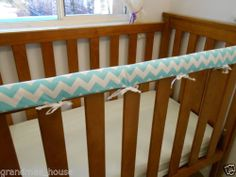 Baby Cot Crib Teething Rail Cover Aqua Chevron Fits Boori Also 100% Cotton
