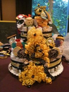 "Diaper Cake for ""Mother to Bee"" Baby Shower. $70.00, via Etsy."
