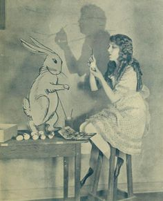 Mary Pickford + the white rabbit.