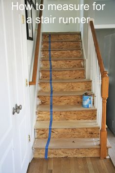 How to Measure for a Stair Runner Start at the top of your staircase and run one continuous strip of tape all the way down the staircase, making sure to go over and under each bullnose on the tread. Tear the tape when you get to the floor. Grab a friend and carefully peel off the tape and walk it across your room and lay it on the floor. Now MEASURE. This tape measurement is the absolute minimum for the size runner you need to order.