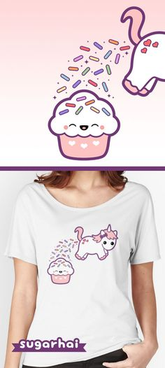 Funny t-shirts for women with super cute rainbow sprinkle pooping unicorn and happy cupcake. Available in multiple colors and styles including hoodies and tank tops.