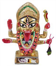 Kalighat Kali (Brass) Navratri Wallpaper, Bal Gopal, Nataraja, Brass Statues, Durga Puja, Durga Goddess, Lord Vishnu, Gods And Goddesses, Ganesha