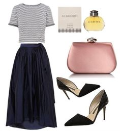 stylish yet modest outfit - blue long dipped hem skirt