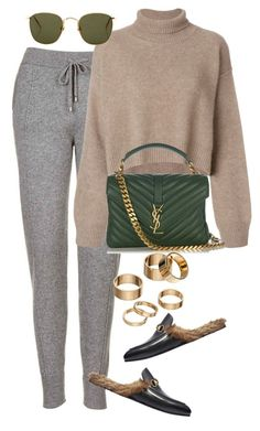 """""""Untitled #4311"""" by lily-tubman ❤ liked on Polyvore featuring Topshop, Gucci, Rejina Pyo, Yves Saint Laurent, Apt. 9 and Linda Farrow"""