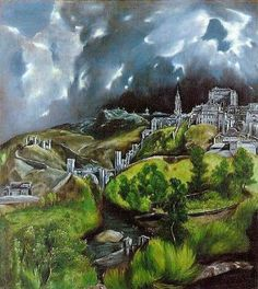 'View of Toledo' El Greco. I saw this in Toledo, Spain when it was on loan from the Metropolitan Museum of Art for a Greco exhibit in March of 2014 in March of 2014 Metropolitan Museum, Pin Ups Vintage, Painting Prints, Art Prints, Georges Seurat, Creta, Peter Paul Rubens, Oil Painting Reproductions, Paul Gauguin
