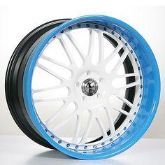 4Rims 24 AC Forged Wheels Rims AC311 WT/Blue 3 piece
