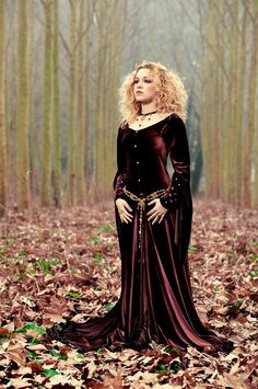 A deep burgundy velvet gown!