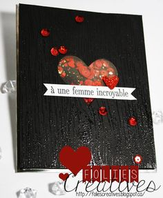 Shaker card, Black and red, Valentine's day card, Stampin'Up! http://foliescreatives.blogspot.ca/