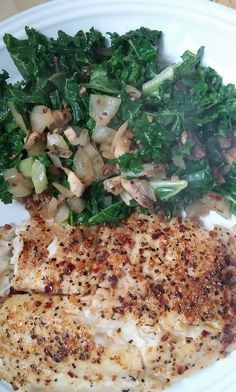 P2D2, was down almost 3lbs this morning (mostly load I'm sure).... Lunch is tilapia, 6oz....and some Kale, onions and mushrooms! #HCGrecipes4u