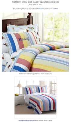 COPY CAT CHIC FIND: Pottery Barn Kids Kasey Quilt VS Sear's Praire Stripe Quilt Set