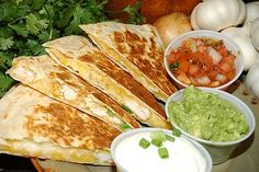 Mexican quesadillas - are a traditional Mexican food. A quesadilla consist of a tortilla, warmed to soften it enough to be folded in half, and then filled. Crock Pot Recipes, Slow Cooker Recipes, Cooking Recipes, Diet Recipes, Freezer Recipes, Skillet Recipes, Cooking Tools, Freezer Meals, Cooking Ideas