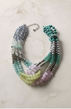 Multistrand Necklace || turquoise, lime green, lilac twisted strands - Anthropologie