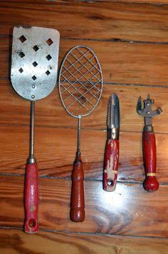 Mid Century CUTE! Vintage Red Wood Handle Kitchen Utensils Set of 4 Cooking Supplies Retro Kitchen