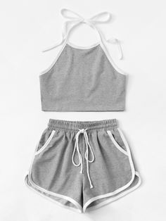 Open Back Neckholder Top mit Shorts Cute Lazy Outfits, Sporty Outfits, Stylish Outfits, Girls Fashion Clothes, Teen Fashion Outfits, Outfits For Teens, Sporty Fashion, Mod Fashion, Sporty Chic