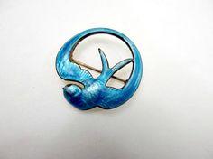 Victorian blue guilloche swallow brooch