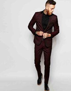 Image 1 of ASOS Slim Suit in Burgundy Tonic