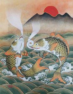 2번째 이미지 Oriental, Korean Tattoos, Korean Painting, Carpe, Korean Art, Fish Art, Beautiful Drawings, Fabric Wallpaper, Japanese Art