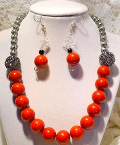 Chunky Red and Metal Beaded Necklace with by SharonGJewelry, $29.99