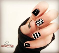 & White Simple and classic black & white nail art design that will help your manicure match any outfit!Simple and classic black & white nail art design that will help your manicure match any outfit! Black And White Nail Designs, Black And White Nail Art, Black Nails, White White, Black Glitter, Nail Art Hacks, Easy Nail Art, Hot Nails, Hair And Nails