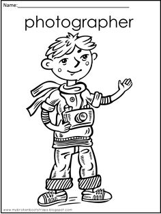 Free When I Grow Up coloring sheets - set of five.  Includes, photographer, teacher, chef, singer, and artist!  This blog gives away freebies every Monday!