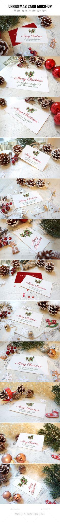 Holidays Christmas theme Greeting Card / Folded Card / Invitation Mockup - Print Product Mock-Ups - design display - product display