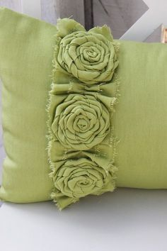 Apple Green Pillow with Frayed Ruffle and 3 Flower Rosettes-Maggie's bed room pillows- set of three Green Pillows, Diy Pillows, Decorative Pillows, Throw Pillows, Decorative Accents, Cushion Cover Pattern, Cushion Covers, Jute, Shabby Chic Cushions