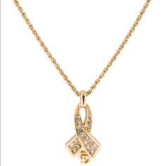 CHRISTIAN DIOR CRYSTAL RIBBON PENDANT NECKLACE GOLD TONE ROPE CHAIN CHRISTIAN DIOR CRYSTAL RIBBON PENDANT NECKLACE Christian Dior Jewelry Necklaces