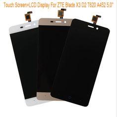 Siyah/beyaz/altın lcd ekran + tp için zte blade x3 d2 t620 a452 5.0 ''lcd ekran + dokunmatik ekran dokunmatik panel digitizer meclisi