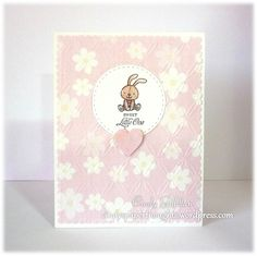Baby Girl Bunny Rabbit card - Cindy Gilfillan. MFT adventure is calling, Taylored Expressions many minis occasions.