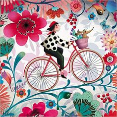 Marie Desbons ~ Floral Bicycle Art